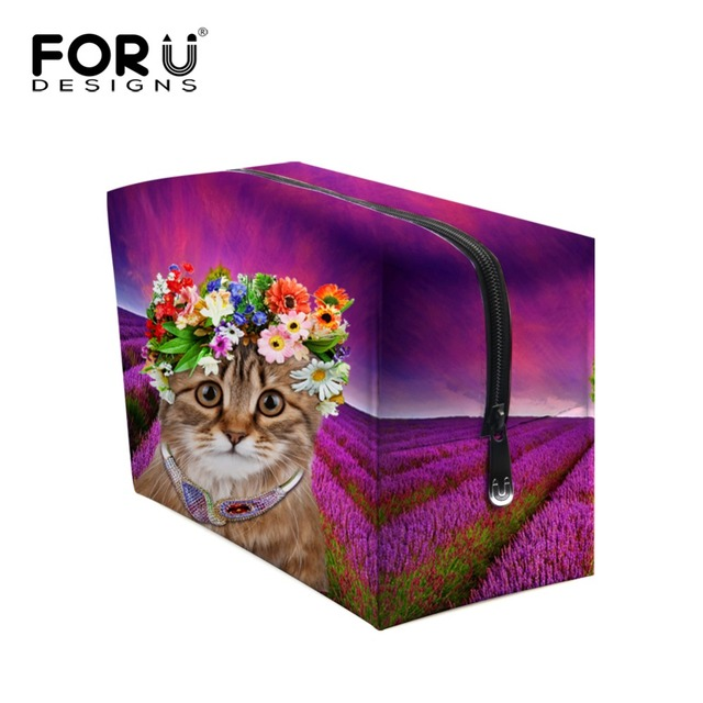 Famosa Marca Animales Patrón Del Paisaje Realista compone el Bolso Caso Cosmético Organizador Caja de Maquillaje de Colores Impreso Floral neceser