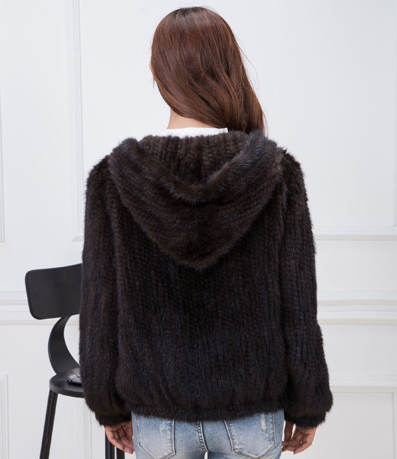 knit mink fur coat brown back