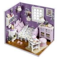 DIY 3D Dollhouse Paper Miniature Furniture Kit Model Building Kits LED Light Kids Grils Gift Toys