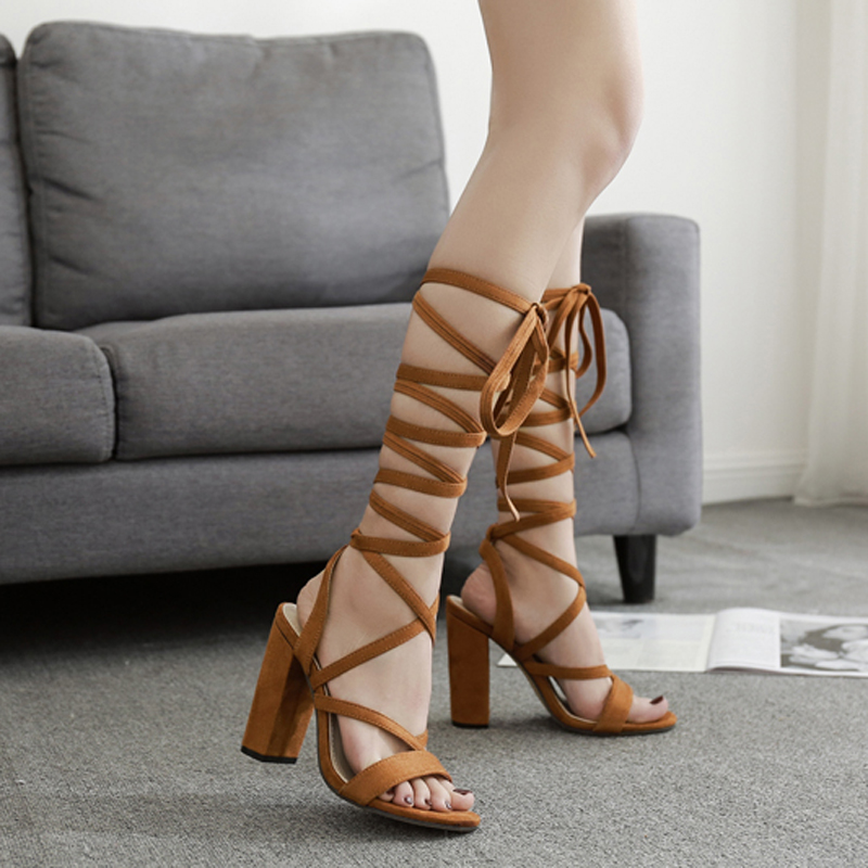 Teahoo 2018 Summer Black Ankle Strap Gladiator Sandals Women Open Toe High  Heels Sandals Women Fashion Party Dress Shoes Woman-in High Heels from Shoes  on ... f658ba38a3a5
