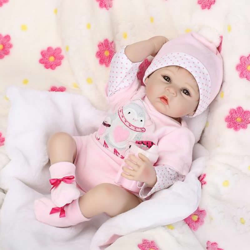 22 inch Silicone baby reborn dolls lifelike doll babies girl real touch newborn doll pink princess children birthday xmas gift can sit and lie 22 inch reborn baby doll realistic lifelike silicone newborn babies with pink dress kids birthday christmas gift