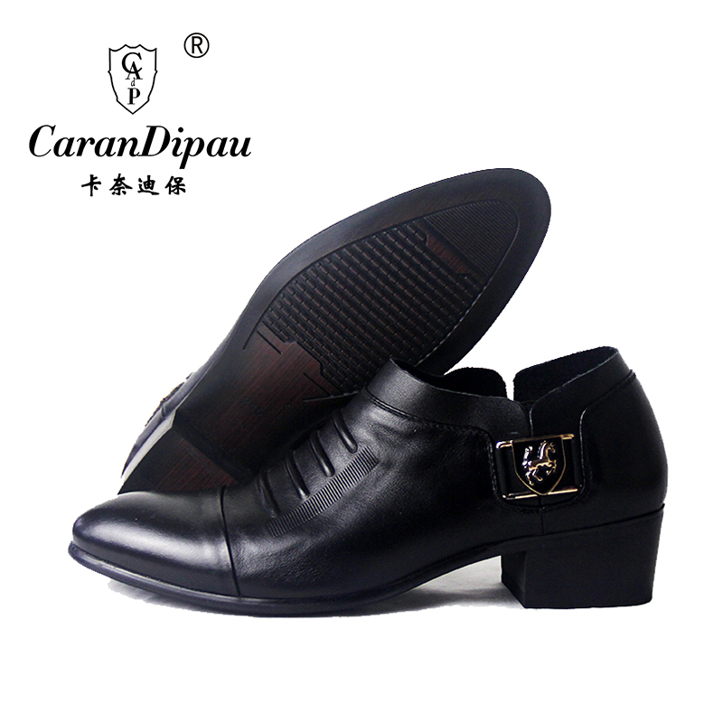 new 20176 classic 100% genuine leather shoes men's pointed toe dress shoes formal luxury brand dress shoes wedding black цена и фото