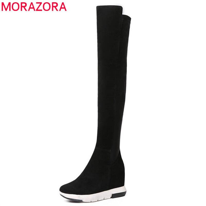 MORAZORA 2018 top qualité suède de vache en cuir cuissardes bottes femmes bout rond sexy longues bottes coins talons hauts chaussures femme