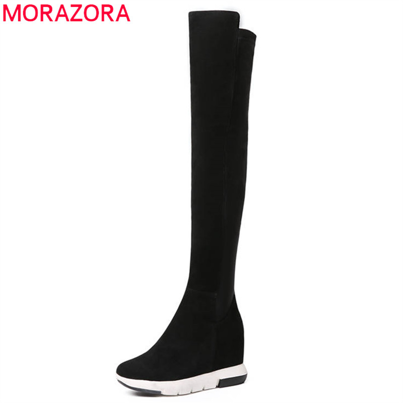 MORAZORA 2018 top quality cow suede leather thigh high boots women round toe sexy long boots wedges high heels shoes womanMORAZORA 2018 top quality cow suede leather thigh high boots women round toe sexy long boots wedges high heels shoes woman