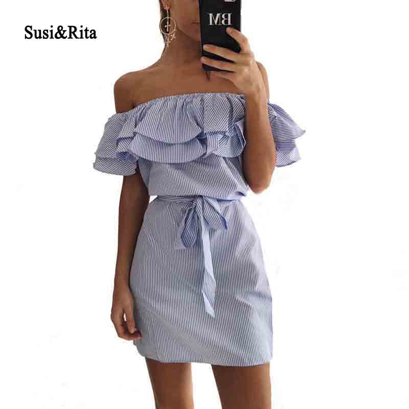 Susi&Rita Women Summer Dress 2018 Ruffles Off Shoulder Dress Striped Sexy Bodycon With Belt Short Beach Dresses Robe Vestdios