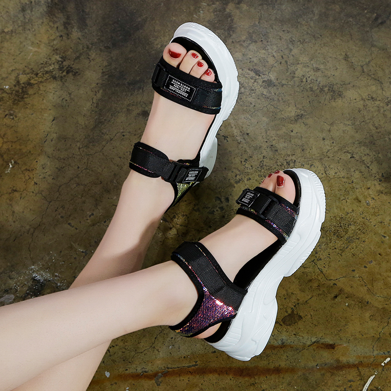 HTB11Rzqd.GF3KVjSZFoq6zmpFXaQ Fujin High Heeled Sandals Female Summer 2019 Women Thick Bottom Shoes Wedge with Open Toe Platform Shoes Increased Shoes