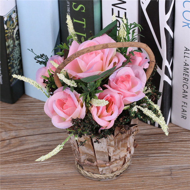 Artificial Rose Flower Arrangements Vase Tulip Plant Bonsai Fake Silk Basket Wedding Party