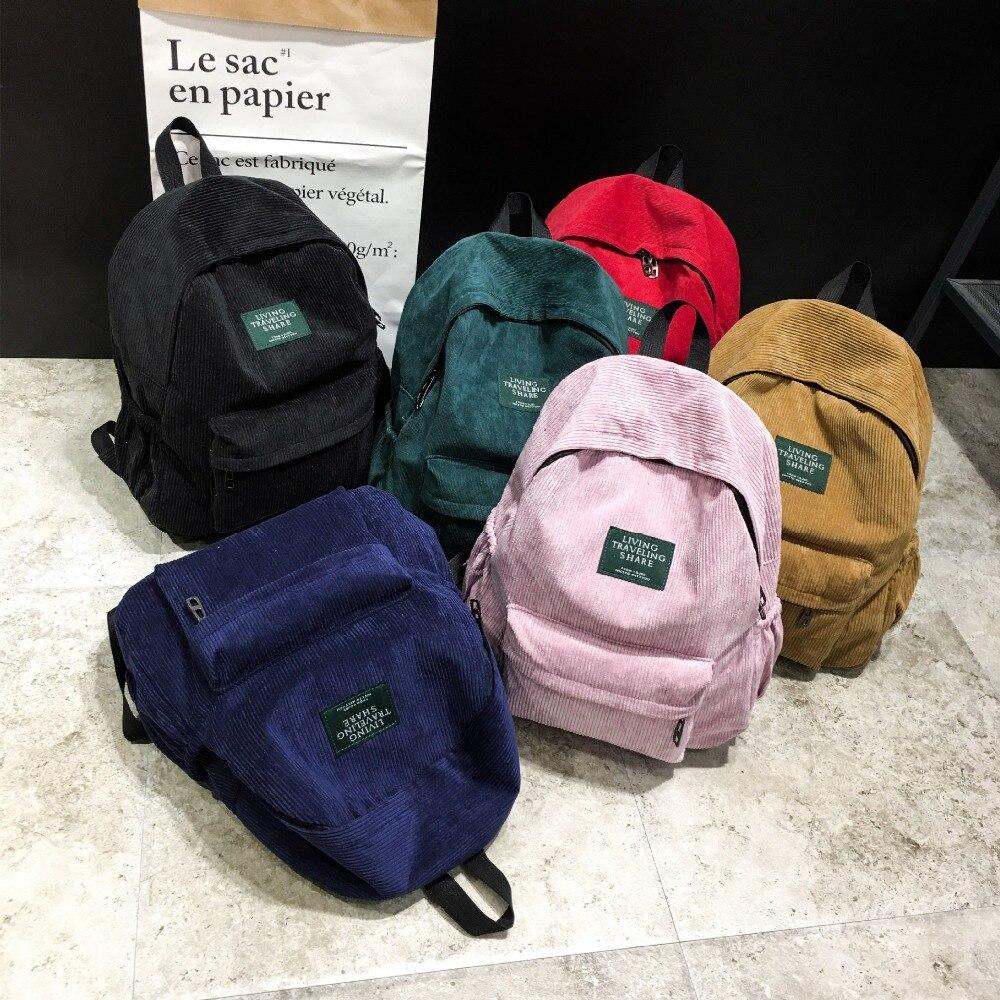 Canvas Backpack School-Bag Velvet Female Corduroy Mochila Teenage-Girls Women Adolescent