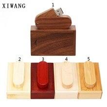 XIWANG 10 units can be customized company LOGO wood U disk 4GB 8GB 16GB 32GB 64GB wooden rotary USB flash drive free shipping