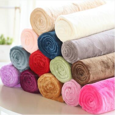 100*150cm Fleece Coral Fleece sofa towel blanket solid blanket sheets adult child sofa bed cover wholesale FG058