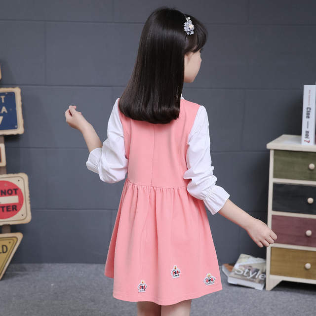 65a74425ad09 2017 Kids Girl Dress Autumn Winter Fashion Baby Girl England Style Long  Sleeve Dress Children Clothing