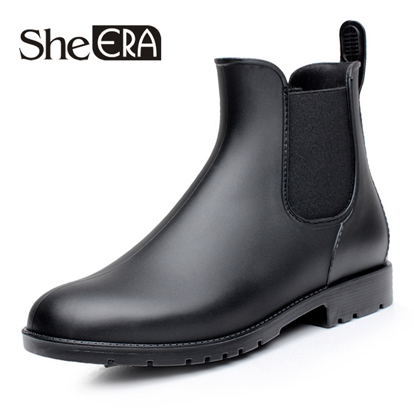 She ERA Men rubber rain boots fashion black chelsea boots casual lovers botas slip-on waterproof ankle boots moccasins 38-43