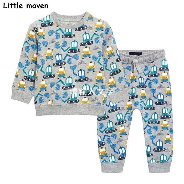 Little maven brand children's clothing sets 2017 autumn boys terry cotton excavator print long sleeve T shirt + pants 20149