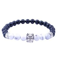 Фотография Romeda Mens Bracelets Unique Onyx Charm Beads Bracelet Natural White Howlite Animal Stone Men Bracelets Jewelry Guy