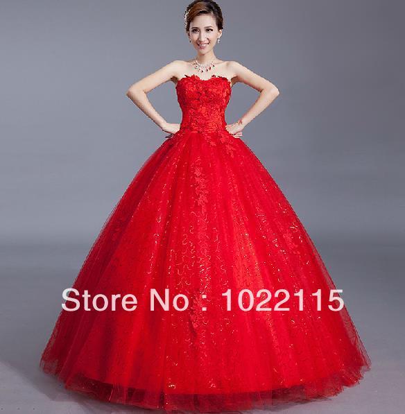 Clásica personalizado de color rojo bordado de Tulle del vestido de ...