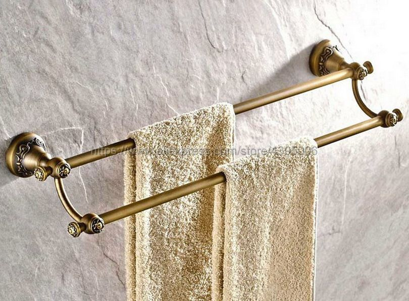 Antique Brass Double Towel Holder Towel Rail Wall Mounted Towel Bar Rack Bathroom Accessories Bba425