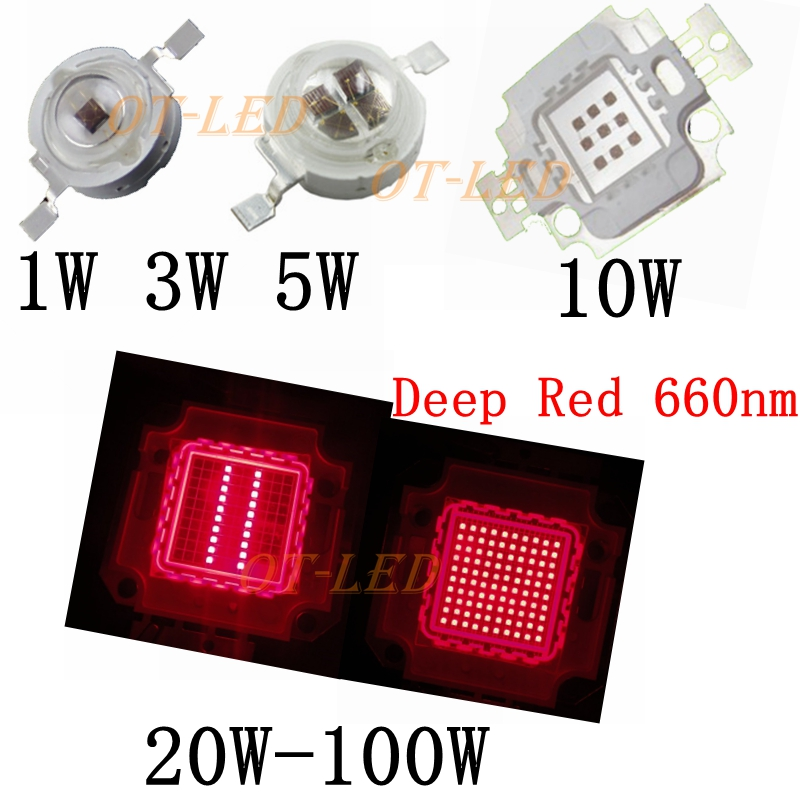 high power led chip 660nm deep red led grow light 660 nm 3w 5w 10w 20w 30w 50w 100w cob emitter. Black Bedroom Furniture Sets. Home Design Ideas