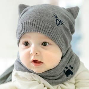 JAMONT 2Pcs  Knitted Hat Cat Scarves Children s Warm lic 63c8fc72b04c