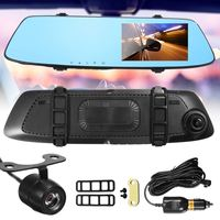 KROAK Newest 4 3 Inch Full HD 1080P Car DVR Dual Lens Front Rearview Mirror Camera