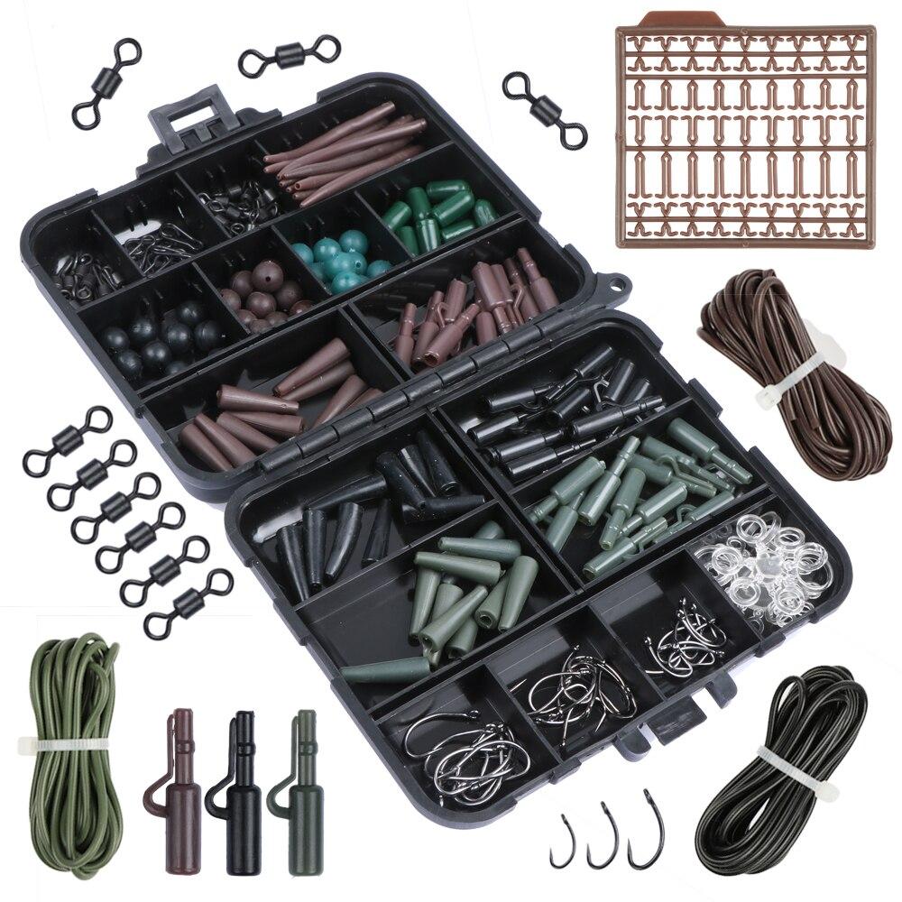 Prix pour Pisfun 187 pcs/ensemble carpe de pêche accessoire ensemble carpe tubes clips de sécurité crochets pivote kit plates-formes de cheveux avec en plastique dur s'attaquer boîte