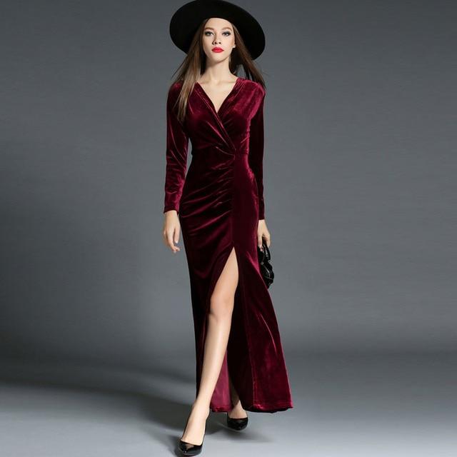 2017 Autumn Winter Party Dresses Red Velvet Dress Women Vintage Sexy High Split Long Maxi Dresses Vestido Longo