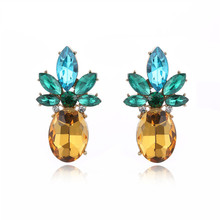 FYM High Quality 2 Colors Pineapple Shape Earring Cubic Zirconia Stud Earrings Jewelry Bijoux Statement For Women Party fym high quality gold colors bijoux jewelry hoop earrings crystal cubic zirconia earrings clear earring for women party