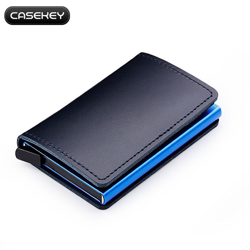 Casekey Blue Genuine Leather Wallet Credit Card Holder Metal with RFID Blocking Slim Stainless Card Case Wallet for Men Women