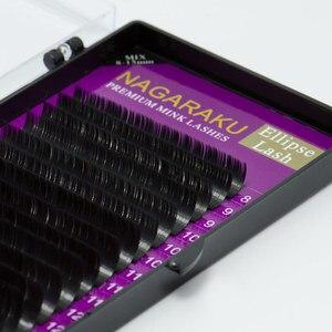 Image 5 - NAGARAKU 10 przypadków BCD 16 rzędów/taca elipsy makijaż rzęs Mix 8 ~ 15mm płaskie rzęsy rzęsy Faux Mink błyszczący miękki naturalny