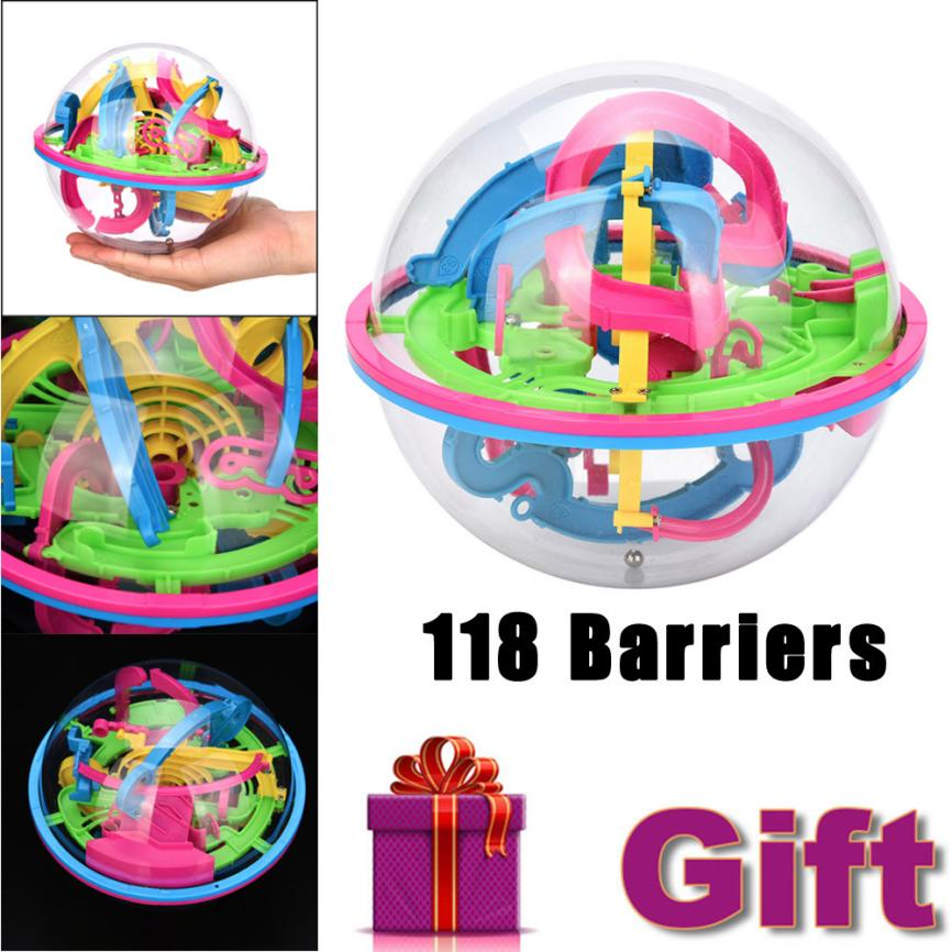 118 Barriers Mini Ball Maze Intellect 3d Puzzle Toy Balance Barrier Magic Labyrinth Spherical Q40 SEP5