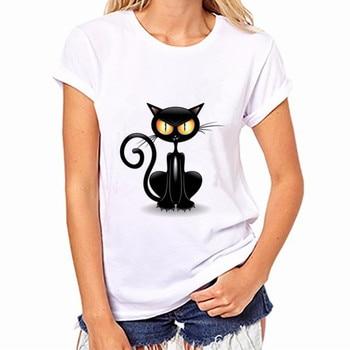 Women T-Shirt Casual Funny Black Cat Tops