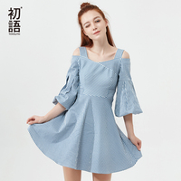 Toyouth Off Shoulder Mini Dress Early Autumn Slash Neck Striped Dresses Women Casual Puff Half Sleeve Vestidos Mujer 2019