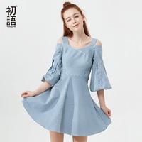 Toyouth Summer Dress 2018 Women Stripe Vintage Dress Casual Off Shoulder Cotton Mini Lady Dresses