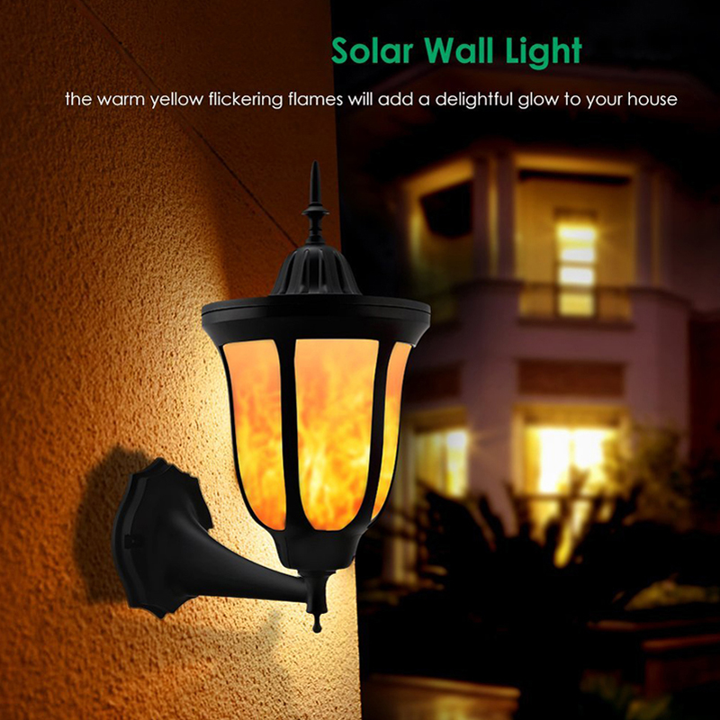 Image 5 - Solar Wall Lights Flickering Flames 96 LED Outdoor Dancing Night Light Waterproof New Lantern Design for Garden Door Patio Yard-in Solar Lamps from Lights & Lighting