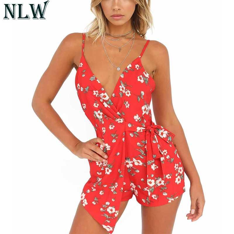 NLW rojo estampado Floral de verano mono Mono corto las mujeres mono overoles playa vestido de fiesta elegante traje