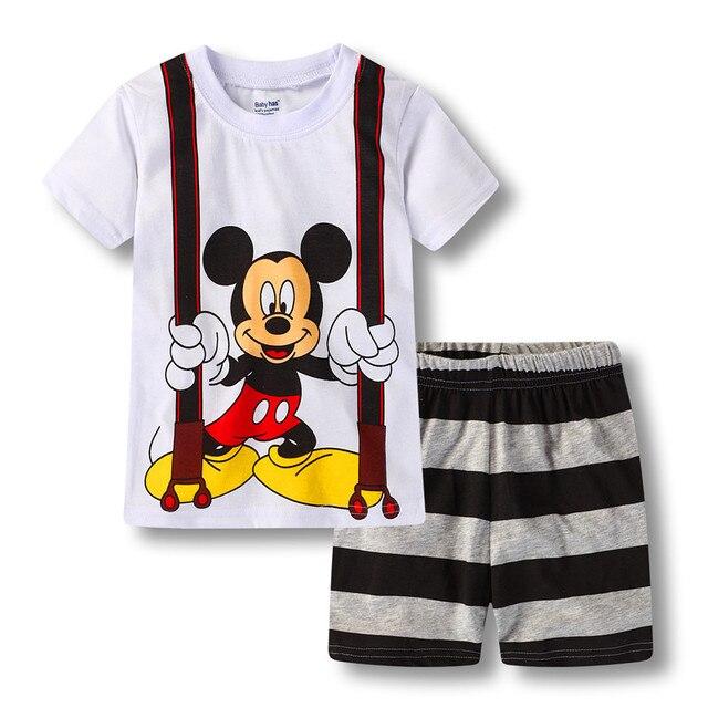 Детские летние Обувь для мальчиков детская пижама комплект Детские пижамы  Костюмы дети короткий рукав нижнее белье 5dd96376cc94a
