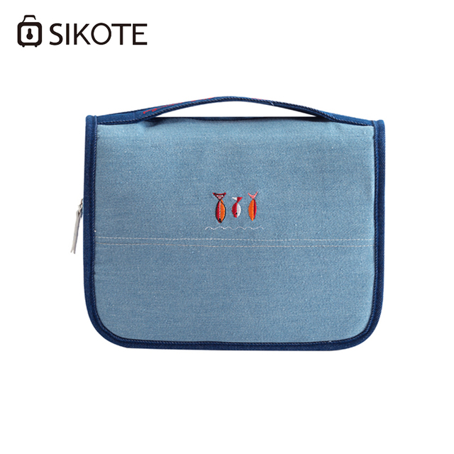 Sikote New Embroidery Cosmetic Bags Women Denim Portable Travelling Bag Storage Canvas Wash Folding