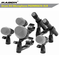 Free shipping,PGDMK6CN-XLR wired cardioid professional drumkit microphone , PGDMK6CN-XLR include: PG52x1pc,PG56x3,PG81x 2