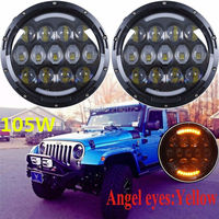 2PCS 105W 7INCH LED Headlight 5500 Lumen Round 7 Motorcycle Headlight With Angel Eyes For Jeeps
