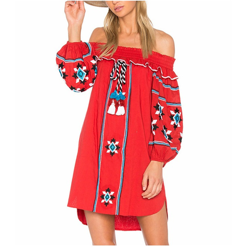limiguyue women bohemian people mexican embroidery dress slash lantern sleeve dresses hippie chic boho dress party dress L008 Платье
