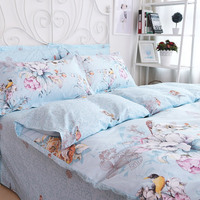 American Pastoral Style Floral And Bird Print Duvet Cover Set Butterfly Cotton Bedding Sets 4 Piece