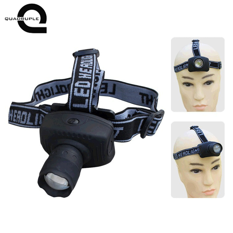 Quadruple 3W LED high-power headlights Third gear / telescopic zoom headlights Fishing headlights Camping lights