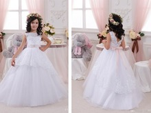 цены lace appliques beading flower girl Dresses 2016 sleeveless weddings beading sashes ball gown first communion dresses for girls