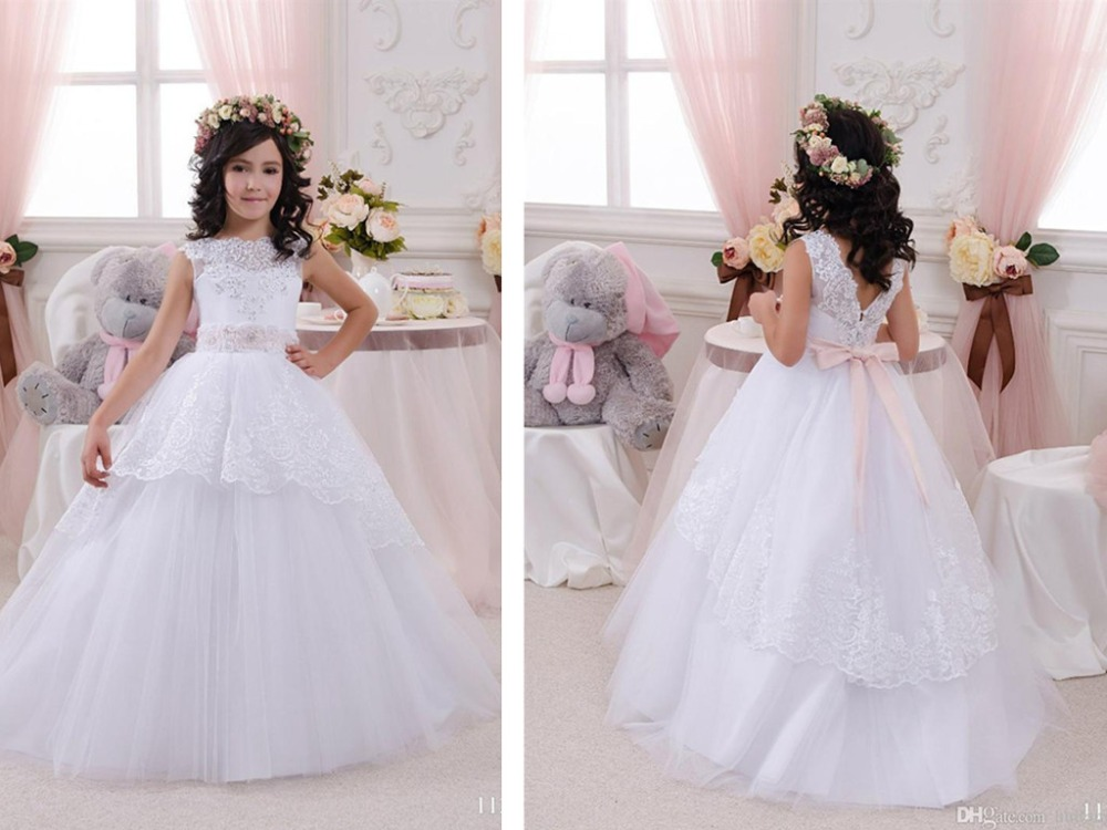 lace appliques beading   flower     girl     Dresses   2016 sleeveless weddings beading sashes ball gown first communion   dresses   for   girls
