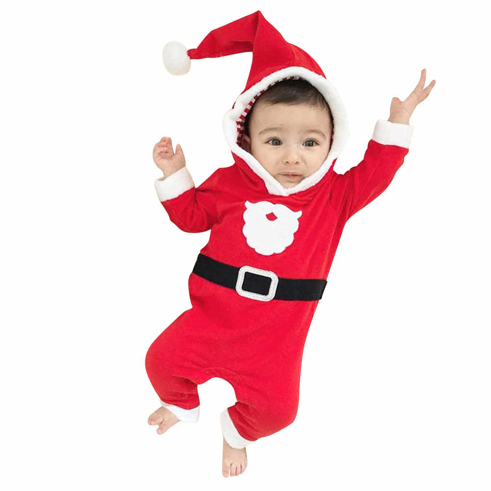 aa338ec3bfc8 Autumn Winter Baby Clothes Overalls Newborn One Piece Romper Christmas  Santa XMAS Hooded Romper Jumpsuit Outfits