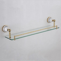 Glass Shelf Blue And White Style Rectangle Floating Bathroom Shelves Kit With 304 Stainless Steel And