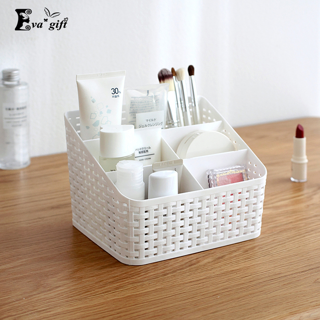 Multi-grid plastic box creative desktop storage box cosmetic case remote control holder small objects Container makeup organizer