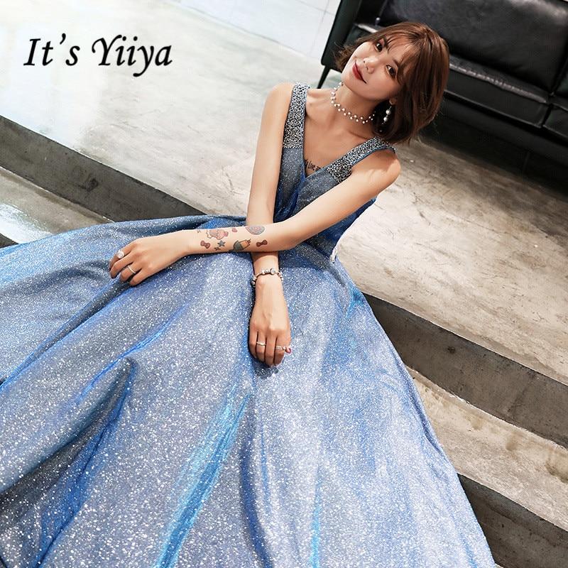 It's YiiYa Evening Dress Fashion Shining Sky Blue V-neck LIttle Train Party Gown Sleeveless Lace Up Elegant Formal Dresses E072