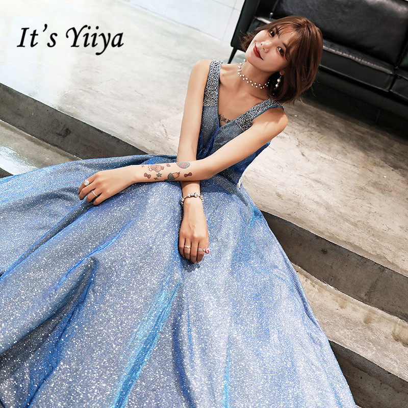It's YiiYa   Evening     Dress   Fashion Shining Sky Blue V-neck LIttle Train Party Gown Sleeveless Lace Up Elegant Formal   Dresses   E072