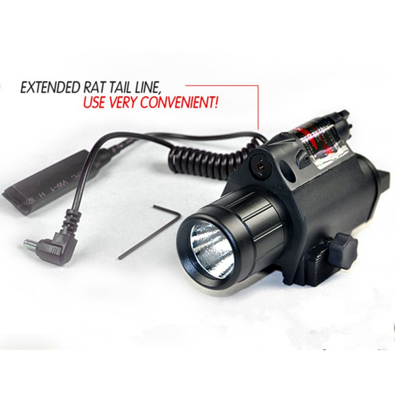 Outdoors Tactical LED Flashlight Light Red Laser Sight Combo for Shotgun Flashlight Handgun