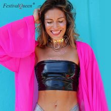 21a91feb39 Multi Flashing Metallic Colors Strapless Tube Tops Fashion Women Solid Tank  Tops Sexy Festival Rave Camis Party Clubwear